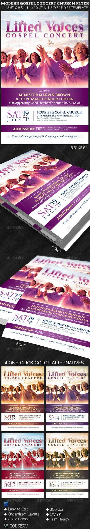 Modern Gospel Concert Church Flyer Template