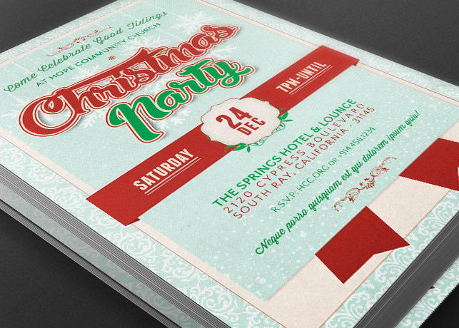 Church Christmas Party Flyer Template by Godserv
