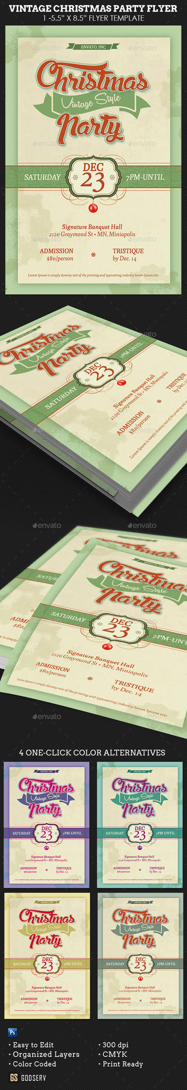 Vintage Christmas Party Flyer Template by Godserv