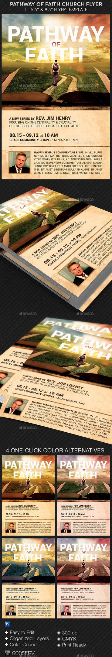 Pathway of Faith Church Flyer Template by Godserv