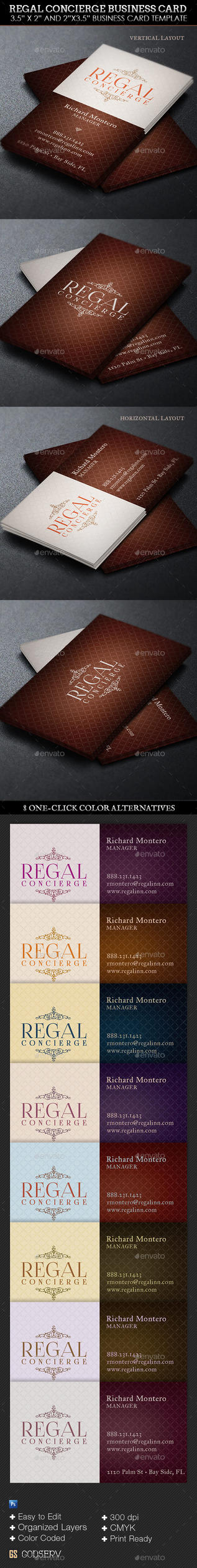 Regal Concierge Business Card Template by Godserv