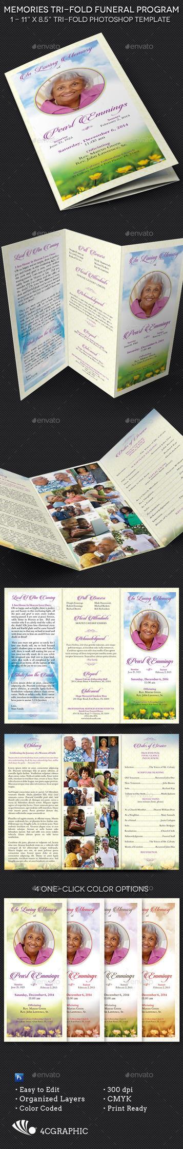 Memories Tri-fold Funeral Program Template by Godserv