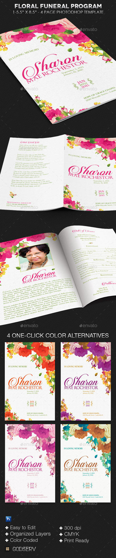 Floral Funeral Program Template by Godserv