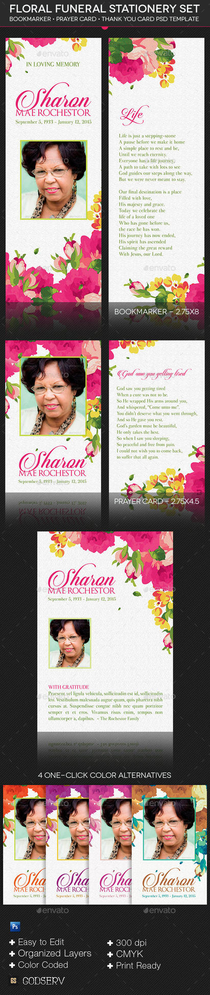 Floral Funeral Stationery Template Set by Godserv