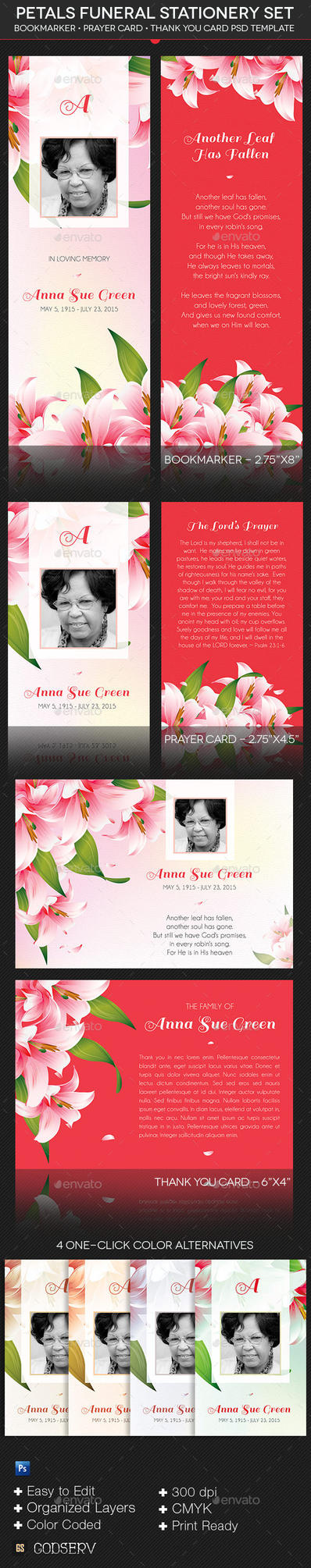 Petals Funeral Stationery Template by Godserv
