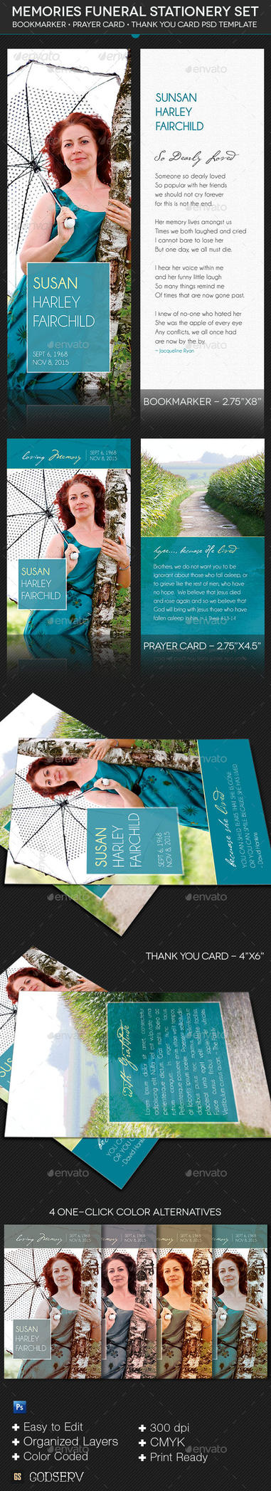 Memories Funeral Stationery Template Set by Godserv