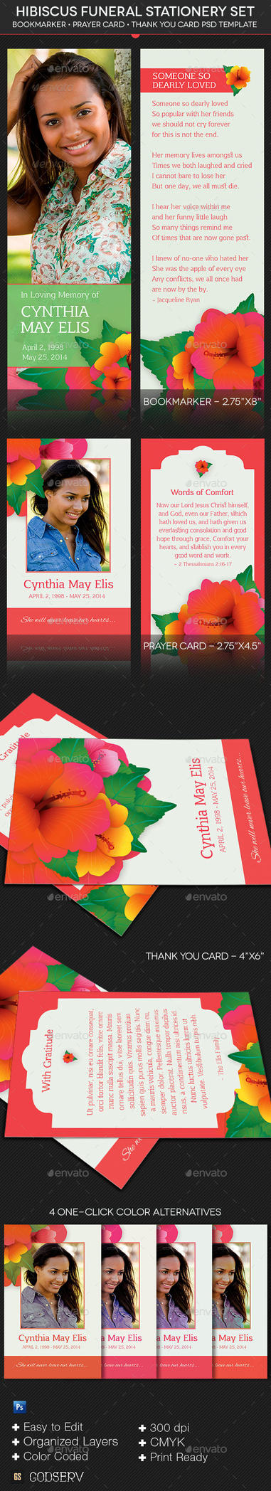Hibiscus Funeral Stationery Template Set by Godserv