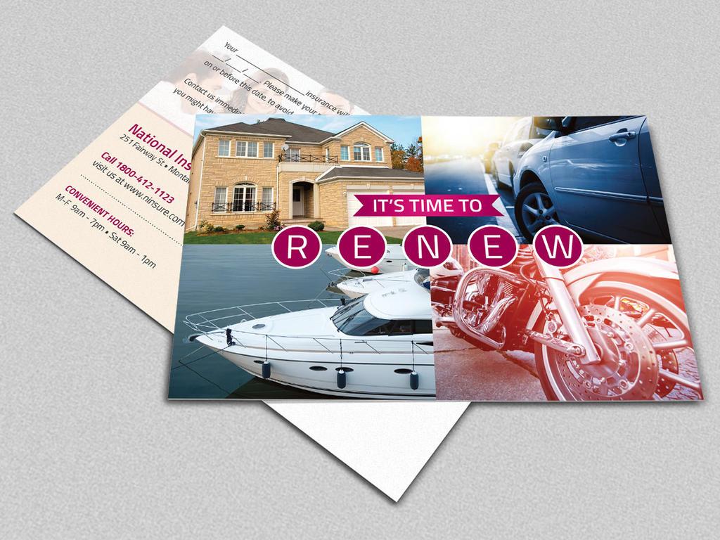 Insurance Renewal Postcard Template by Godserv