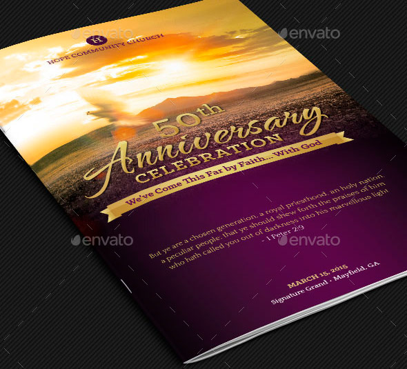 Church Anniversary Service Program Template by Godserv