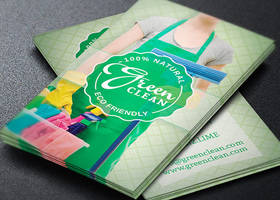 Green Cleaning Service Business Card Template by Godserv