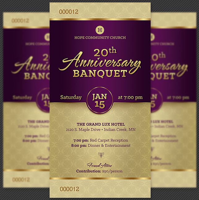 Church Anniversary Banquet Ticket Template by Godserv on ...