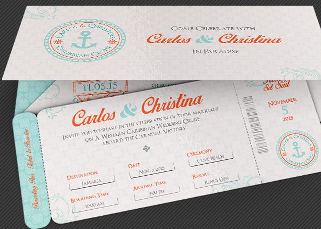 wedding cruise boarding pass invitation template by