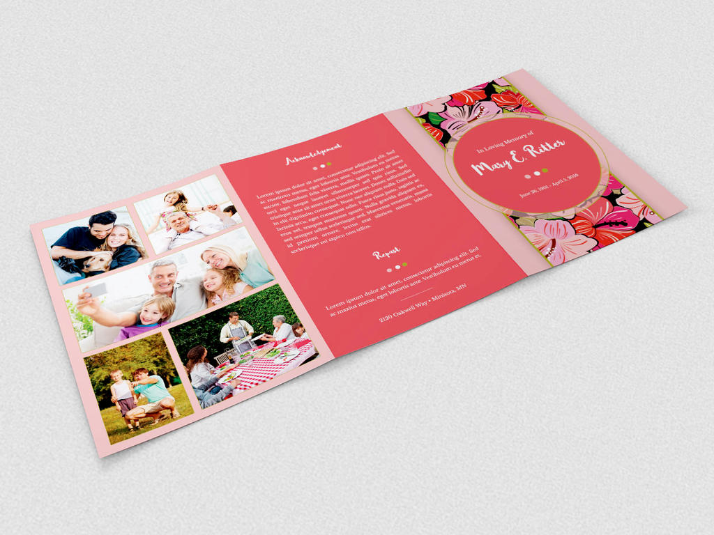 Hibiscus A5 Tri-Fold Funeral Program Template by Godserv