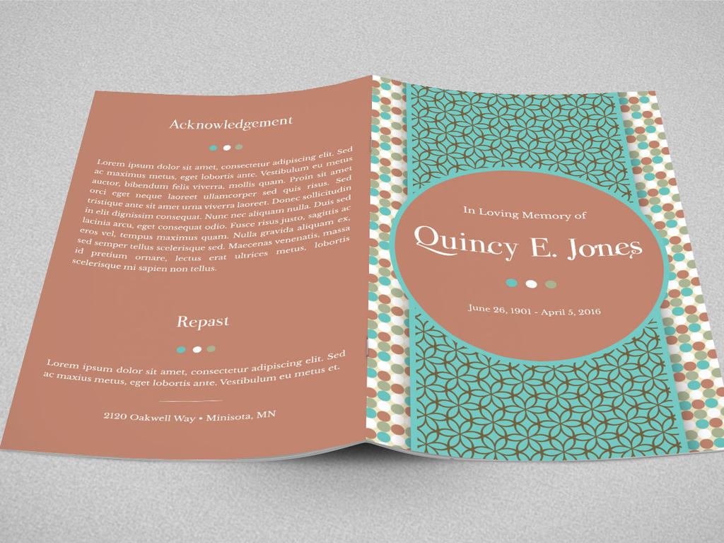 Turquoise Funeral Program Template by Godserv