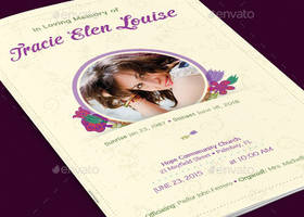 Floral Glory Funeral Program Template by Godserv