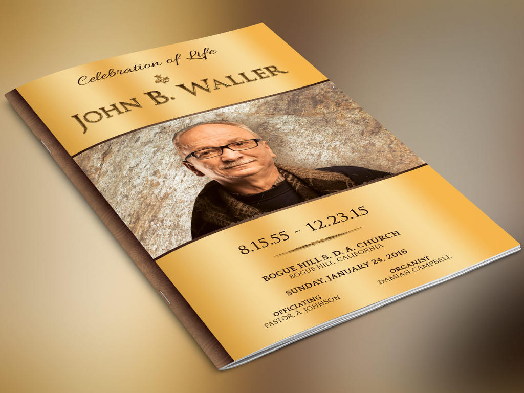 Solid Gold Funeral Program Template by Godserv
