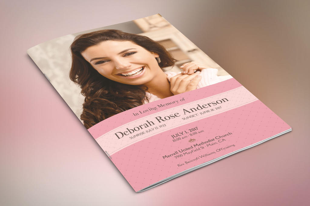 Glamour Funeral Program Small Template by Godserv