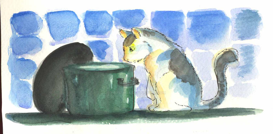 cat and the pot by krysiaida