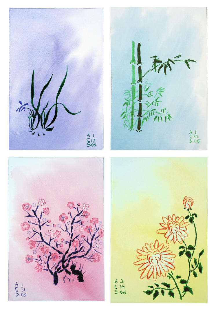 Japanese watercolor flowers by acsitler on deviantart for Japanese watercolor paintings