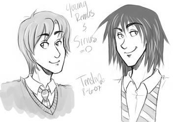 HP - Young Remus + Sirius by nekotenshi