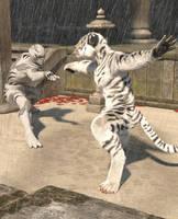 White Tiger Ninja Faces Spirit Animal by chronos491
