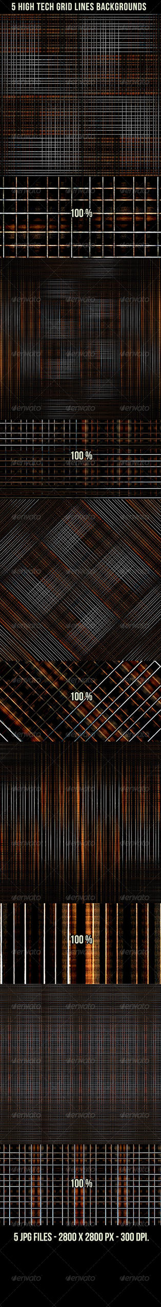 5 High Tech Grid Lines Backgrounds by danfleites