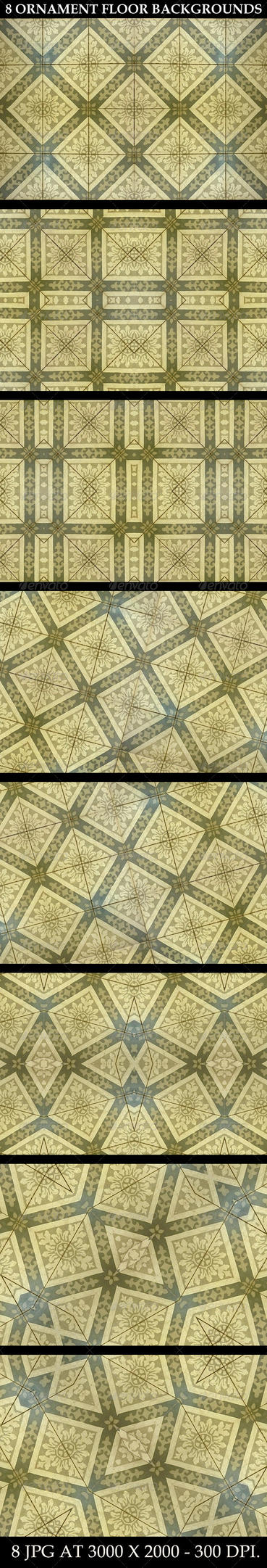 8 Ornament Floor Background Patterns by danfleites