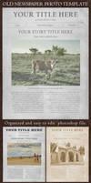 Old newspaper photo frame template mockup