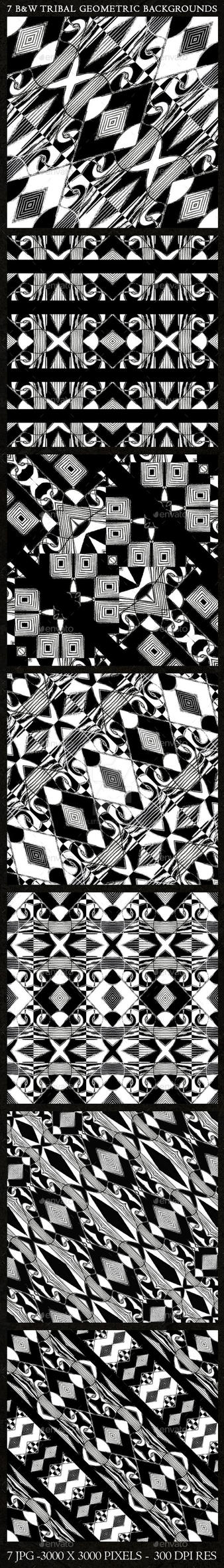 7 Black and White Tribal Geometric Backgrounds by danfleites