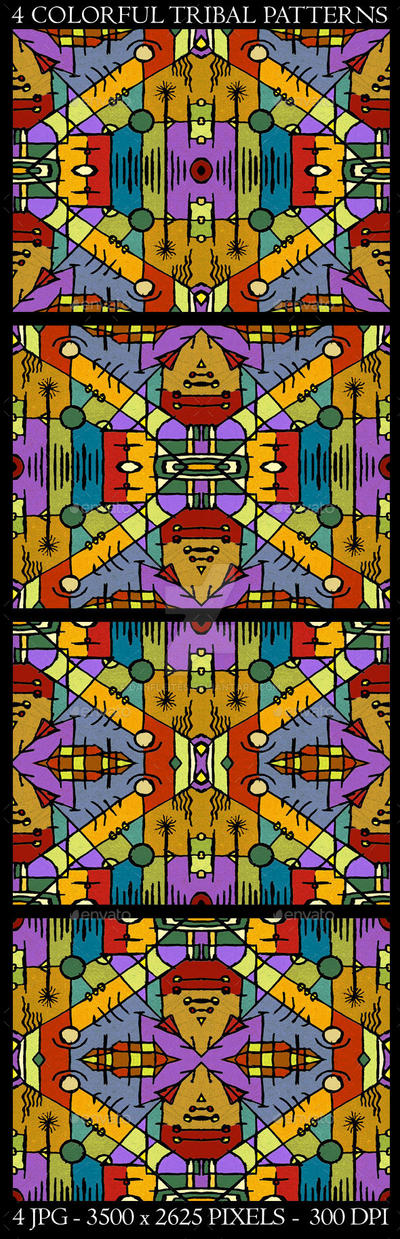 4 Colorful Tribal Background Patterns by danfleites