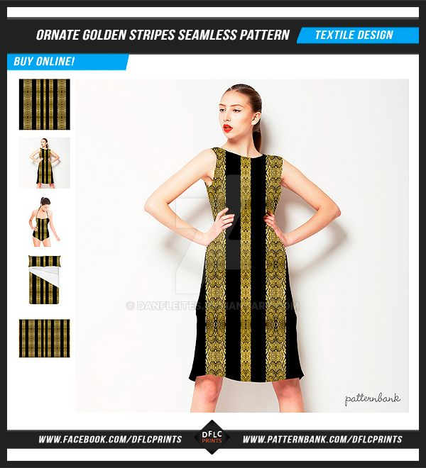 Ornate Golden Stripes Seamless Pattern by danfleites