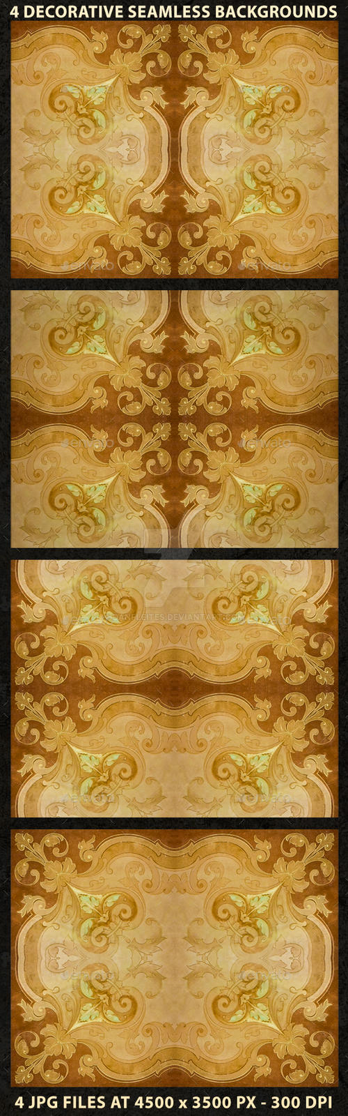 4 Ornate Decorative Seamlesss Backgrounds by danfleites