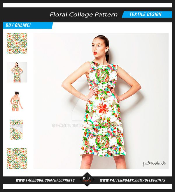 Floral Collage Textile Pattern by danfleites