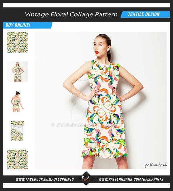 Vintage Floral Collage Textile Pattern by danfleites