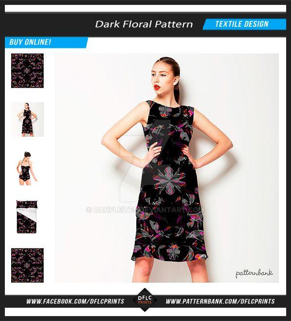 Dark Modern Floral Collage Textile Pattern by danfleites