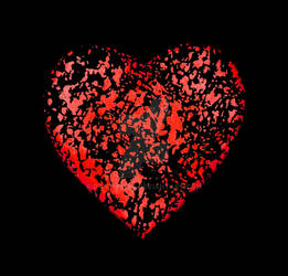 Broken Heart Graphic Over Black Background