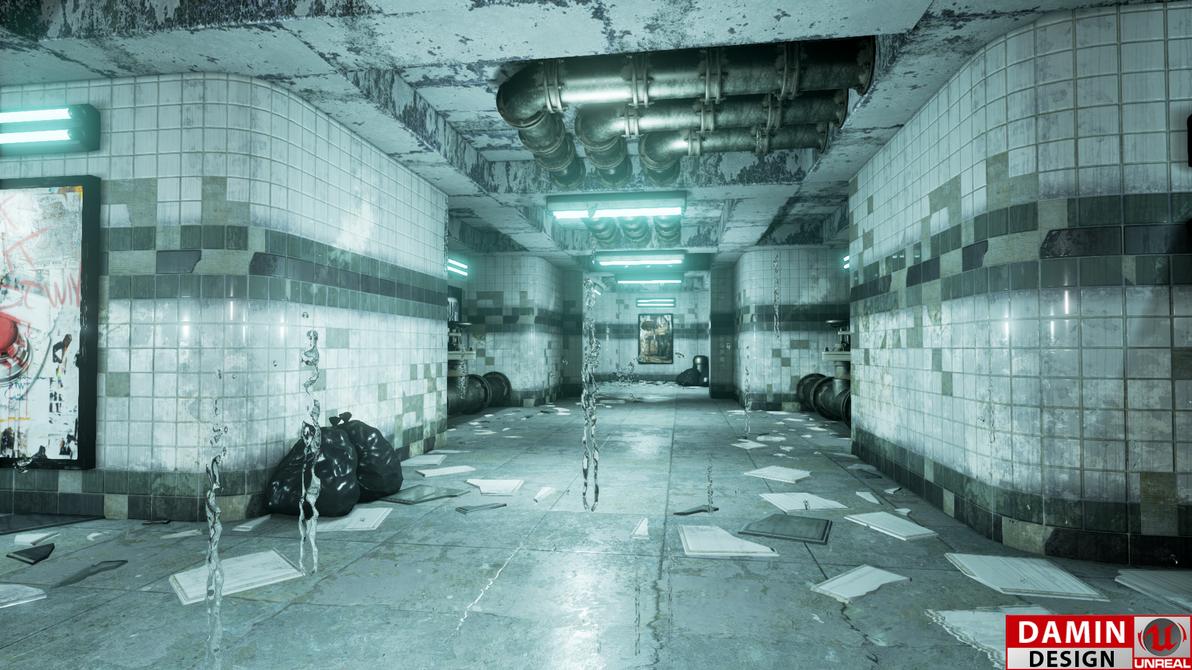 Unreal Engine 4 Metro Station Blue Version by DaminDesign