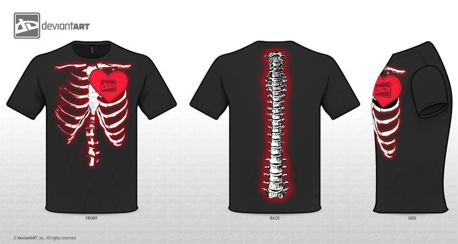 dA Logo T-shirt skeleton by catAnca