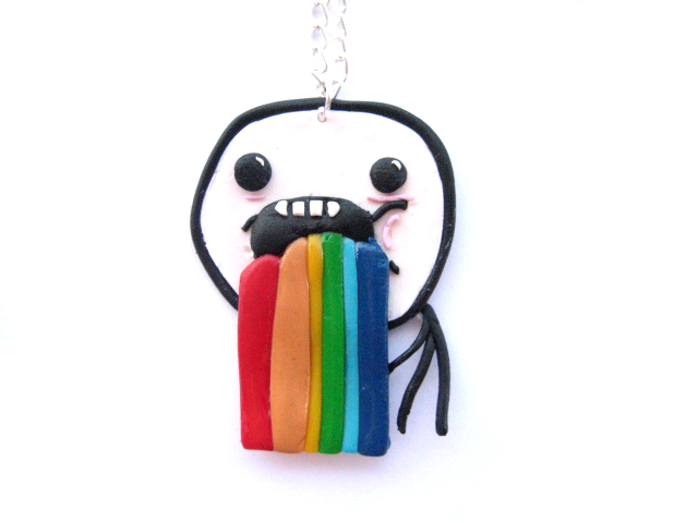 puking_rainbows_meme_necklace_by_claymyday d4vxe1t puking rainbows meme necklace by claymyday on deviantart