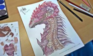 Watercolor Dragon Head.