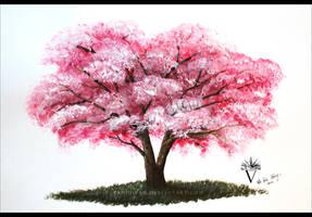 Cherry Blossom Tree in Acrylics.