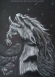 Black Paper Drawing: Rahjital the friendly dragon. by PandiiVan