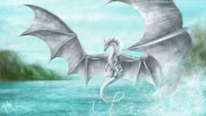 Art Trade: Lir, majestic flying dragon. by PandiiVan