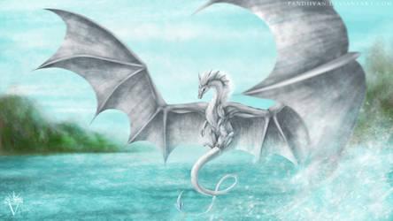 Art Trade: Lir, majestic flying dragon.