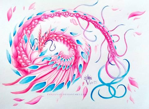 Fantasy Watercolor Dragon.