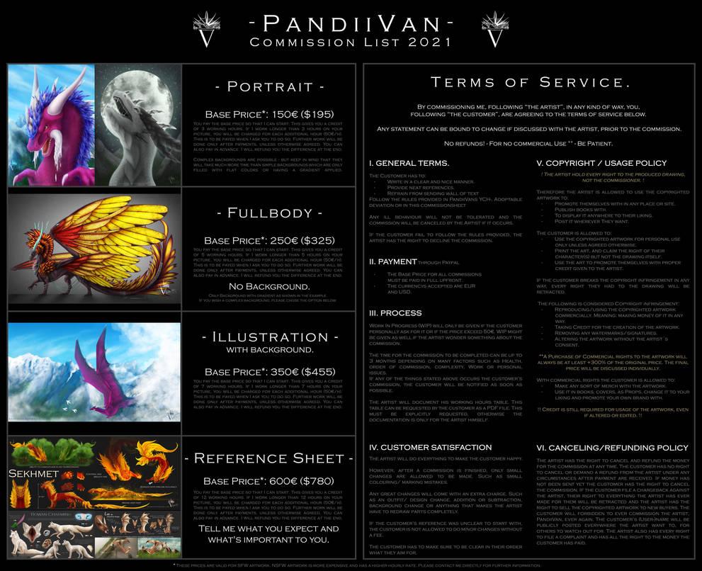 PandiiVans Commission Info Sheet 2021