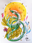 Green Watercolor Dragon - The Plant Spirit by PandiiVan