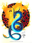 Blue Watercolor Dragon - Lava Ball by PandiiVan