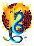 Blue Watercolor Dragon - Lava Ball