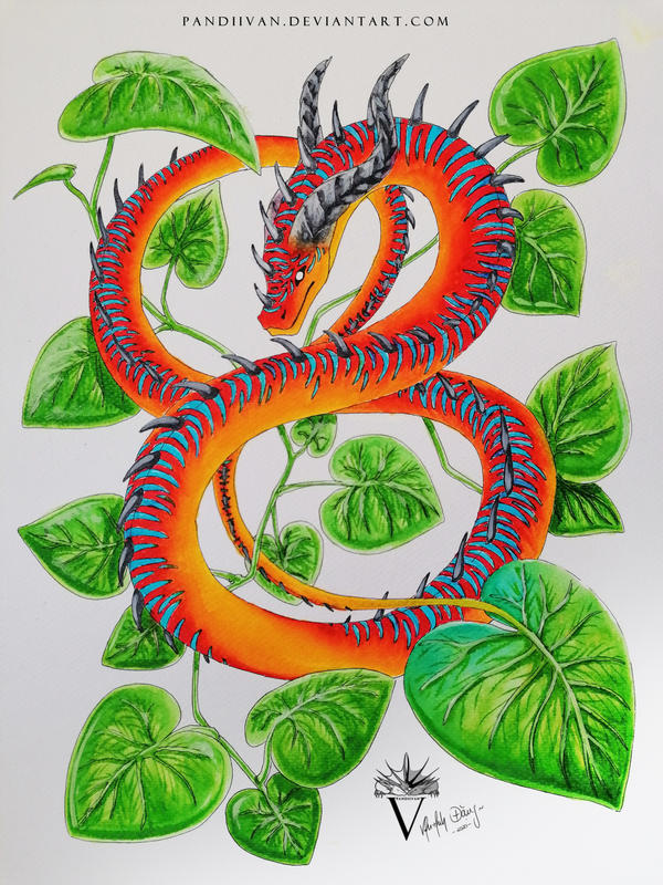 Red Watercolor Dragon - Complementary